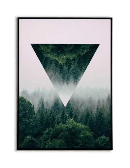 Galeria plakatów, grafika na ścianę zestaw. Las we mgle abstrakcja geometryczna