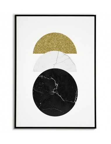 plakat geometryczny z kołami, jedno z kół jest ze złota reszta z kamienia, grafika na ściane
