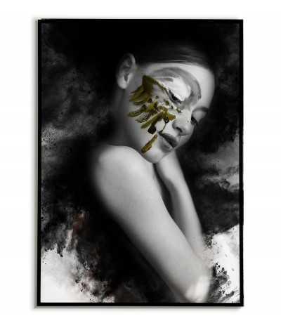 grafika na ścianę w formie plakatu, kobieta w abstrakcji. Czarno biały z żółtymi elementami.