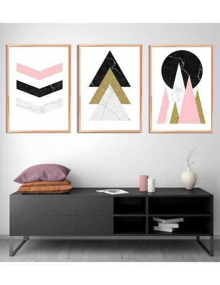 plakat geometryczny na ścianę. Koła i trójkąty. Nowoczesna grafika na ścianę.