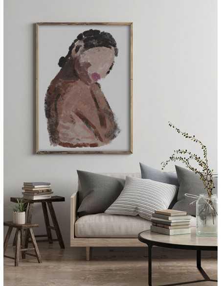 Plakat, grafika na ścianę z nowoczesnym wzorem kobiety malowanej farbami pastelowymi.