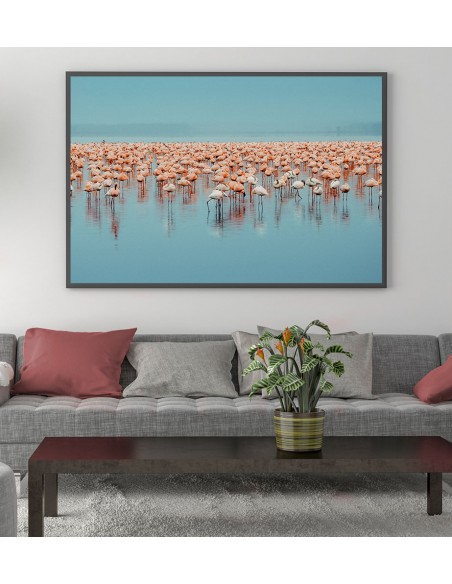 poster with flamingos, blue and pink colors. Horizontal wall graphics