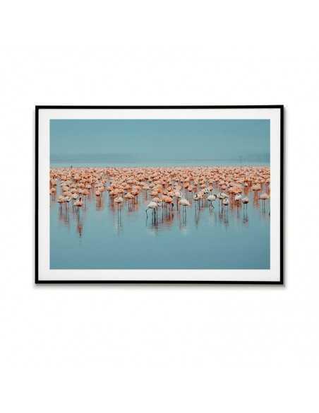 plakat z flamingami, niebieski i różowy kolor. Pozioma grafika na ścianę