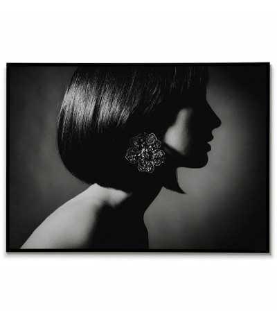 poziomy plakat, grafika na ścianę. Czerno biały kobiecy portret, plakat idealny do salonu lub sypialni.