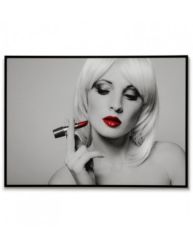 woman with lipstick - painting, poster on the wall in black and white with red elements.
