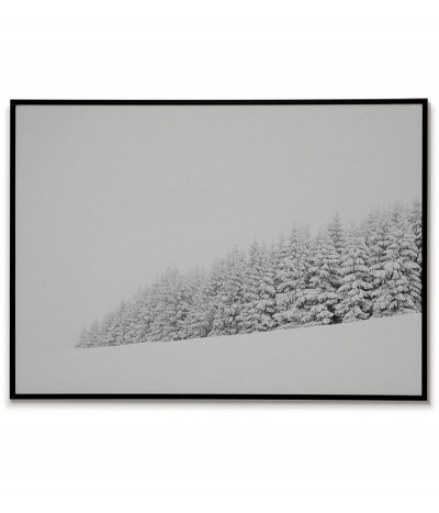 Winter forest. Poster, picture, graphics on the wall in the Scandinavian style.