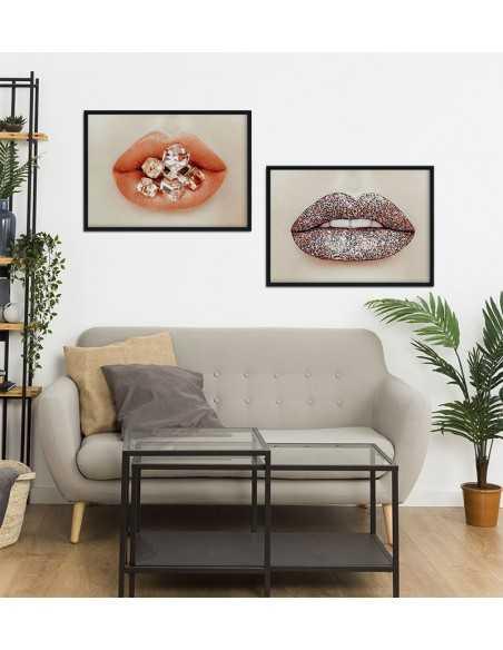 Plakat modowy, usta z brylantami. Nowoczesna grafika na ścianę