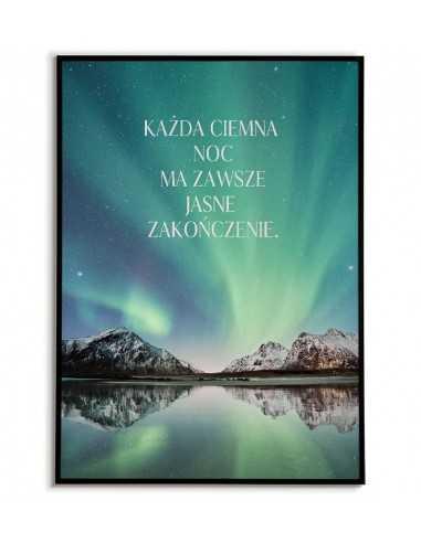 Plakat motywacyjny z napisem i kolorową fotografią - każda noc. Nowoczesna grafika do salonu
