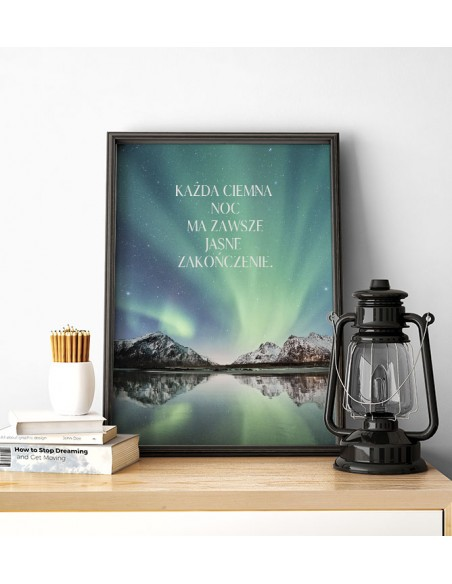 Motivational poster with the inscription and color photo - every night. Modern graphics for the living room