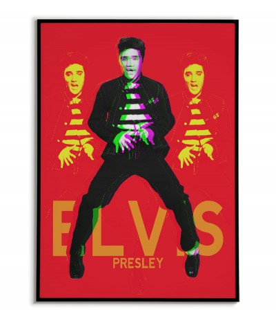 Elvis Presley poster - Posters with musicians for the living room. Beautiful red-black graphics on the wall.