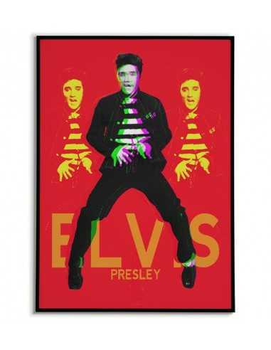 plakat Elvis Presley - Plakaty z muzykami do salonu. Piękna czerwono czarna grafika na ścianę.