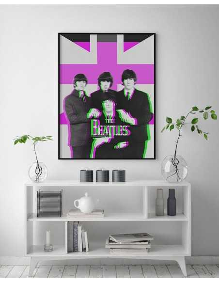 Plakat - The Beatles - Plakat z legendarnym zespołem muzycznym. Grafika na ścianę w nowoczesnym stylu