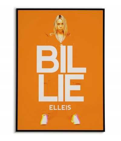 billie eilish autorski plakat na ścianę. Grafika do ramki w kolorach pomarańczowym i białym