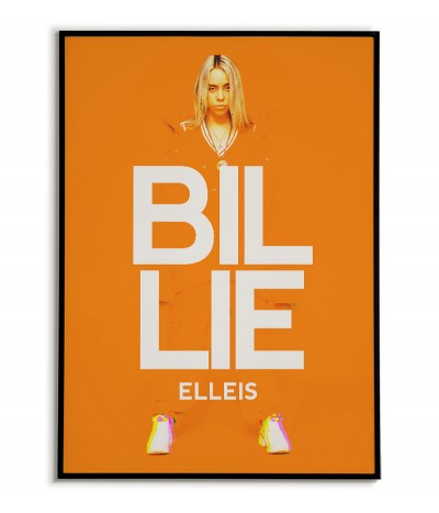billie eilish author's poster for the wall. Graphics for the frame in orange and white colors