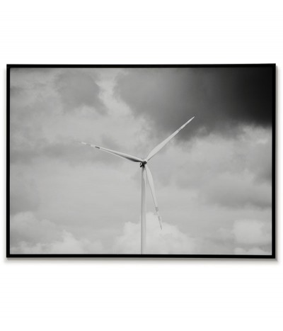 A poster with a windmill on a background of clouds. Black and white graphics for the frame ideal for a modern interior.