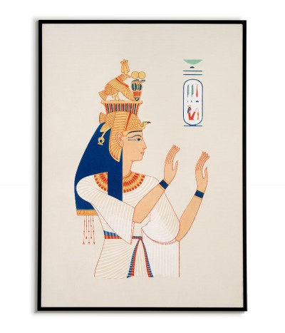Egypt poster with motifs of ancient Egypt. Wall graphics with vintage style portrait.