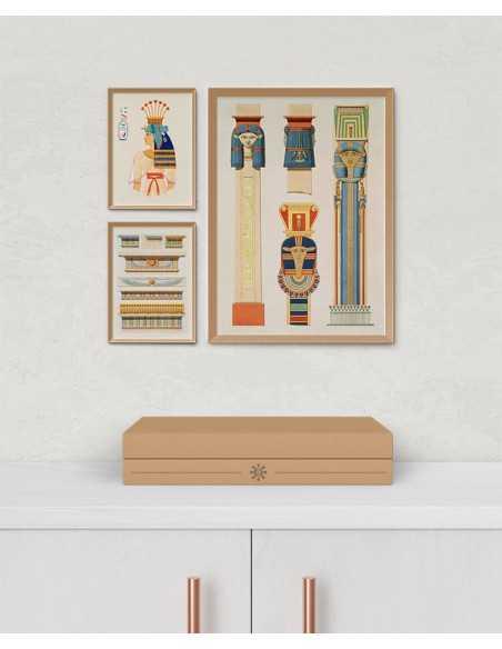 plakat egipt. Architektura starożytnego egiptu na pięknej ilustracji w stylu vintage.