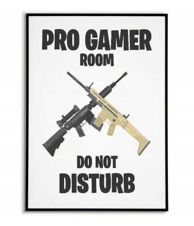 plakat dla gracza nie przeszkadzać z ilustarcją. Grafika do pokoju gracza z napisem Pro gamer room do not disturb.