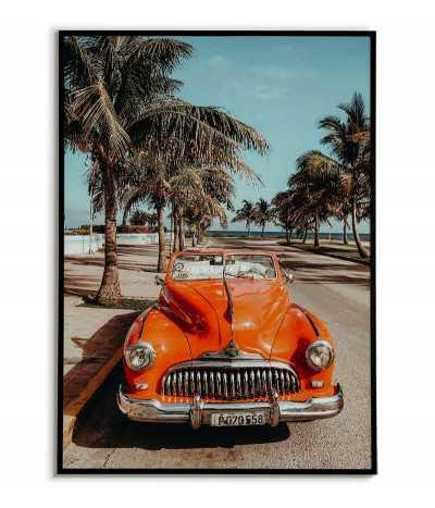 plakat, grafika do ramki ze starym Hawajskim samochodem. Plakat idealny do każdego pomieszczenia.