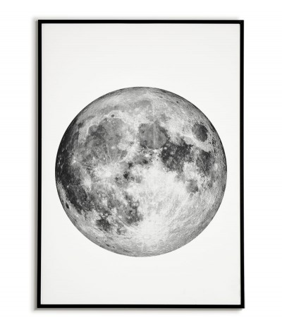 Full moon poster. Minimalistic graphics for the frame with the moon. Perfect poster for a living room or bedroom.
