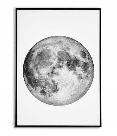 Plakat z księżycem w pełni. Minimalistyczna grafika do ramki z księżycem. Plakat idealny do salonu lub sypialni.