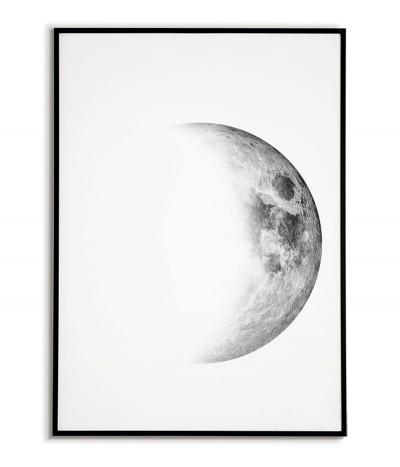 Poster with the moon in the second quarter. Minimalistic graphics for the frame with the moon.