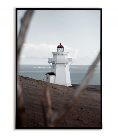 A poster with a lighthouse. Beautiful artwork for a frame with a sea theme. Lighthouse on the shore, beautiful photography