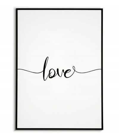 Plakat z napisem LOVE, grafika do ramki z napisem. Klasyczny wzór plakatu idealny na każdą ścianę.