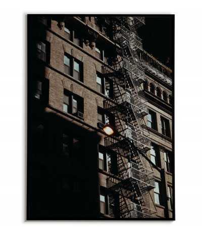 Plakat ze schodami ewakuacyjnymi w nowym jorku. Piękna grafika do ramki z architekturą miasta.