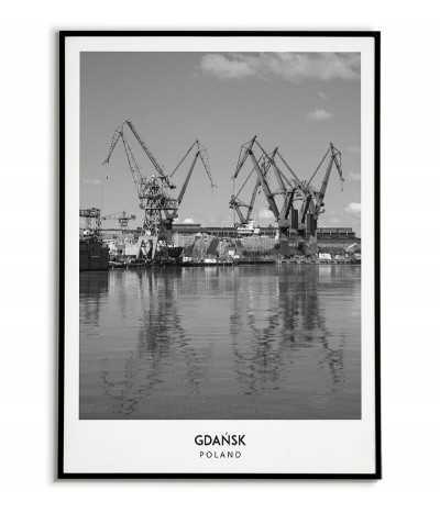 Plakat z miastem Gdańsk w Polsce, Grafika na ścianę obraz. czarno biała fotografia na ścianę