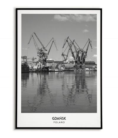 Poster with the city of Gdańsk in Poland, Graphics on the wall, painting. black and white photo on the wall