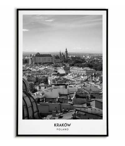Plakat z miastem Kraków w Polsce, Grafika na ścianę obraz. czarno biała fotografia na ścianę