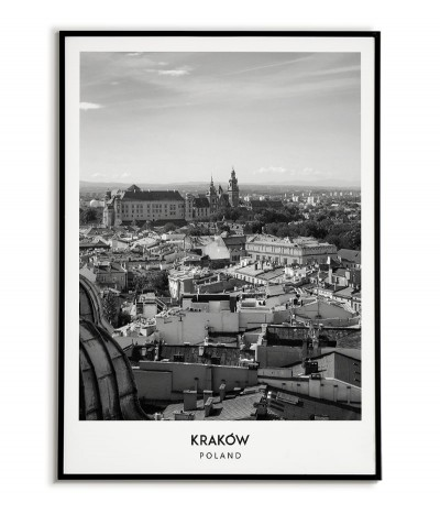 Poster with the city of Krakow in Poland, Graphics on the wall, painting. black and white photo on the wall