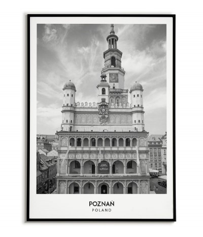 Poster with the city of Poznań in Poland, Graphics on the wall, painting. black and white photo on the wall
