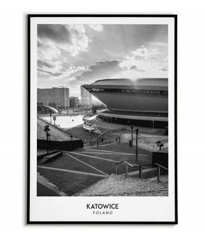 Plakat z miastem Katowice w Polsce, Grafika na ścianę obraz. czarno biała fotografia na ścianę