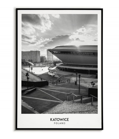 Poster with the city of Katowice in Poland, Graphics on the wall painting. black and white photo on the wall