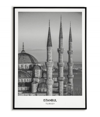Poster with the city of Istanbul in Turkey, artwork on the wall painting. black and white photo on the wall