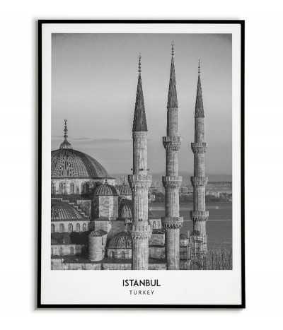 Plakat z miastem Istanbul w Turcji, Grafika na ścianę obraz. czarno biała fotografia na ścianę