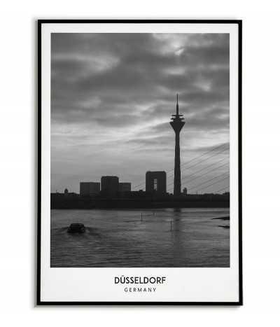 Plakat z miastem Düsseldorf w Niemczech, Grafika na ścianę obraz. czarno biała fotografia na ścianę