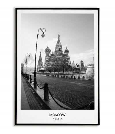 Poster with the city of Moscow in Russia, Artwork on the wall painting. black and white photo on the wall