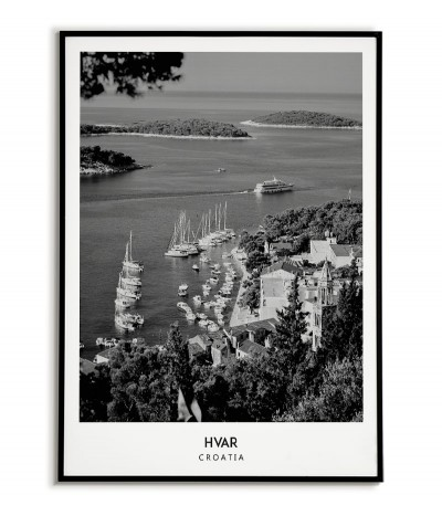 Poster with the city of Hvar in Croatia, Artwork on the wall painting. black and white photo on the wall