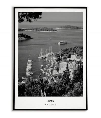 Plakat z miastem Hvar w Chorwacji,  Grafika na ścianę obraz. czarno biała fotografia na ścianę