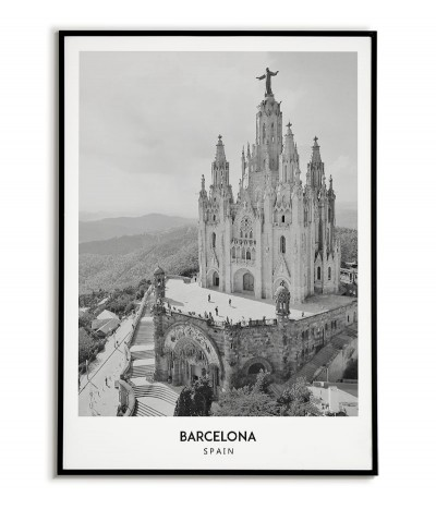 Poster with the city of Barcelona in Spain, Artwork on the wall painting. black and white photo on the wall