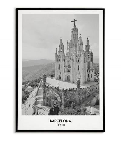 Plakat z miastem Barcelona w Hiszpanii,  Grafika na ścianę obraz. czarno biała fotografia na ścianę