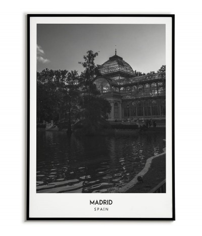 Poster with the city of Madrid in Spain, Artwork on the wall painting. black and white photo on the wall