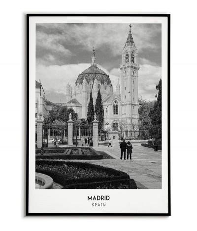 Plakat z miastem Madryt w Hiszpanii,  Grafika na ścianę obraz. czarno biała fotografia na ścianę.