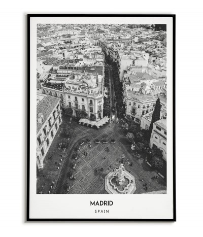 Poster with the city of Madrid in Spain, Artwork on the wall painting. black and white photo on the wall.