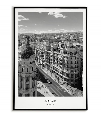 Poster with the city of Madrid in Spain, Artwork No. 5 on the wall painting. black and white photo on the wall.