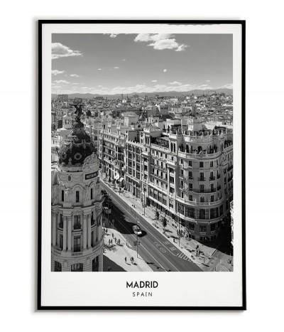 Plakat z miastem Madryt w Hiszpanii,  Grafika nr 5 na ścianę obraz. czarno biała fotografia na ścianę.