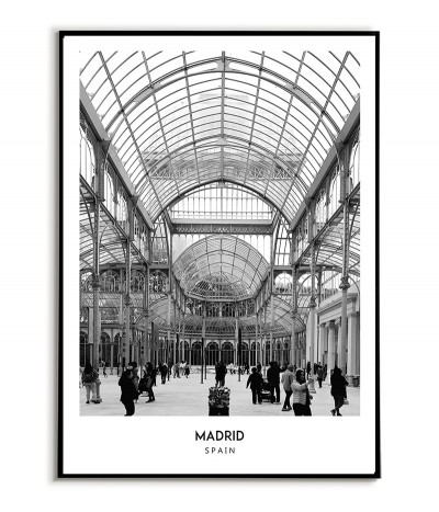 Poster with the city of Madrid in Spain, Artwork No. 6 on the wall painting. black and white photo on the wall.